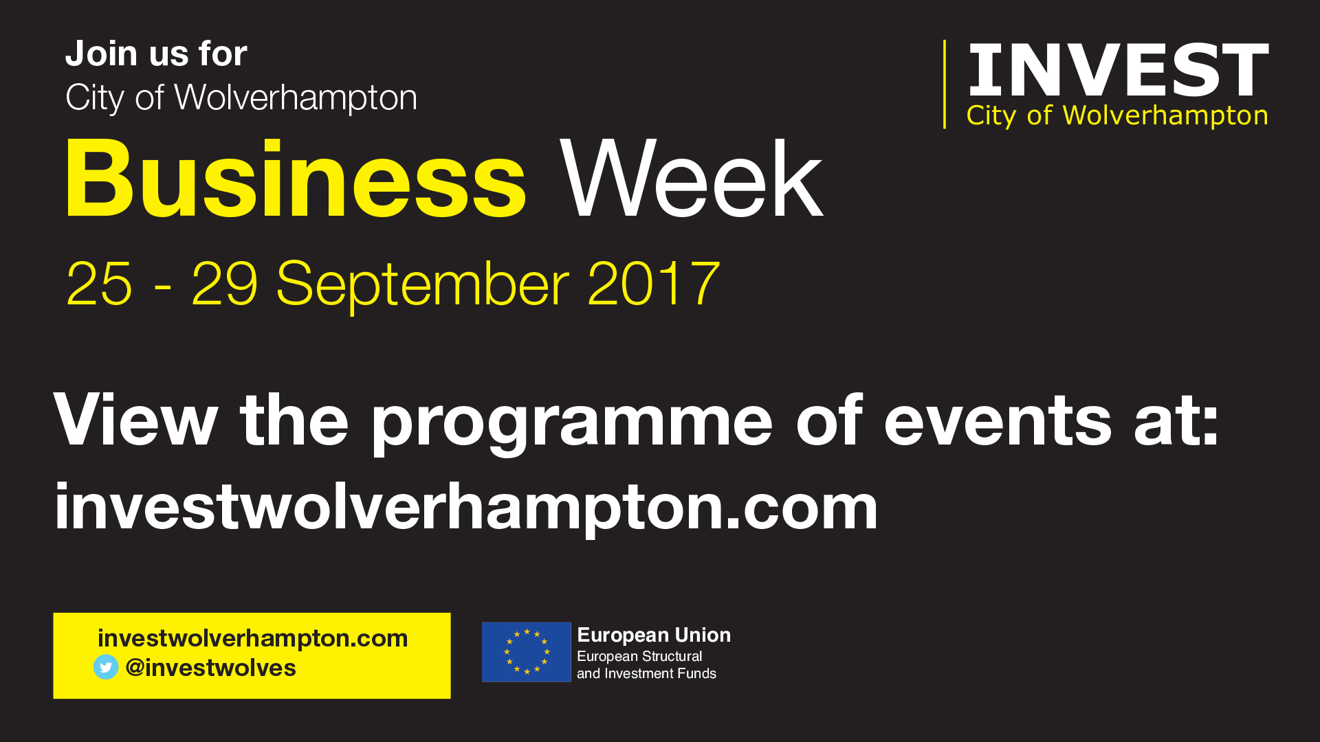 Join Us for City of Wolverhampton Business Week 25-29 September 2017
