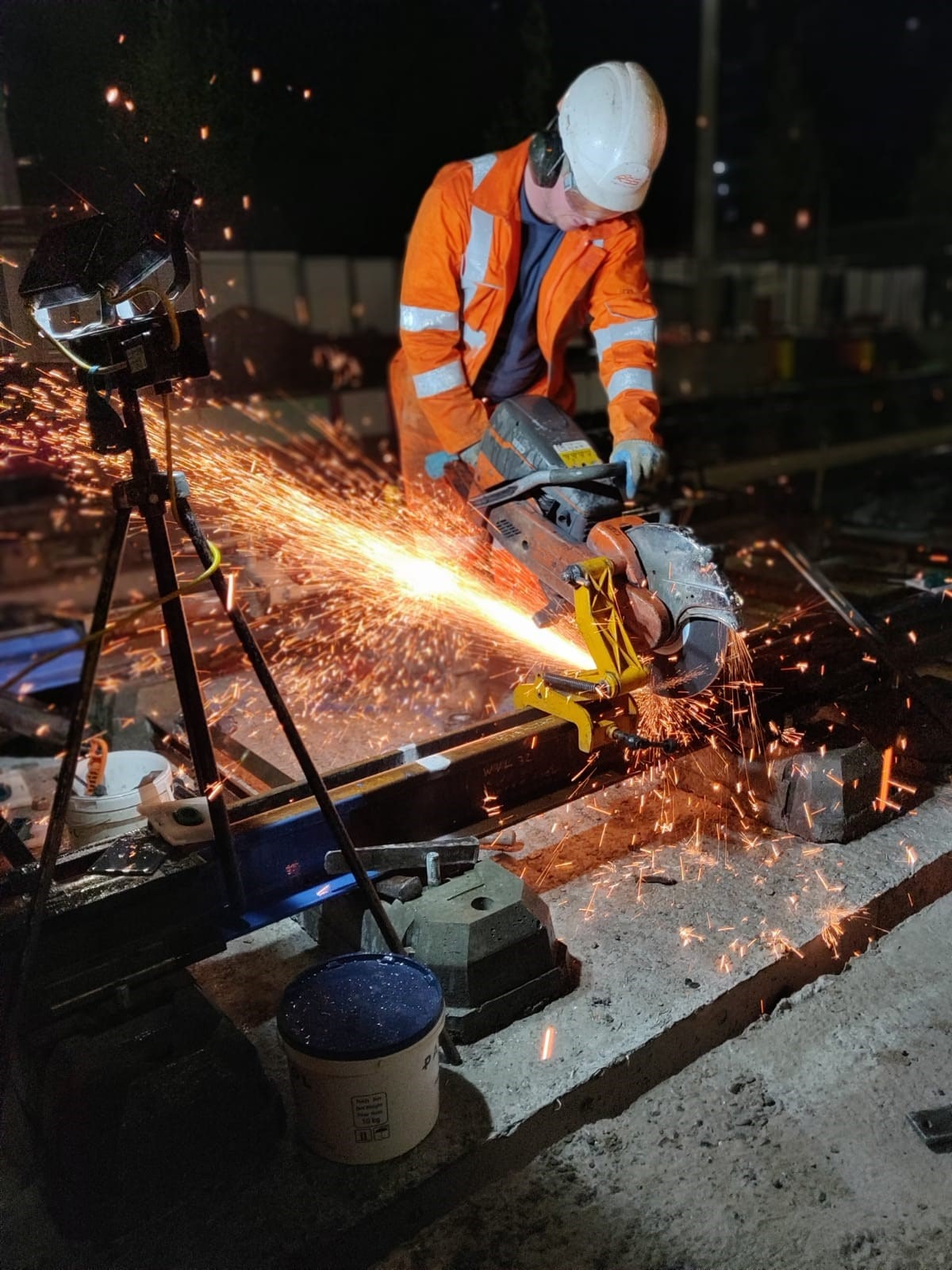Midland Metro Alliance celebrates the last weld of Metro track in Centenary Square as phase one construction enters final stages